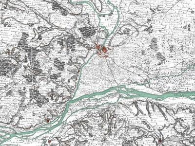 Angers et la confluence de la Maine et de la Loire. Carte dite de Cassini, vers 1770